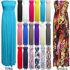 NEW WOMENS STRAPLESS SHEERING BANDEAU BOOBTUBE LONG MAXI DRESS SIZE 8-14