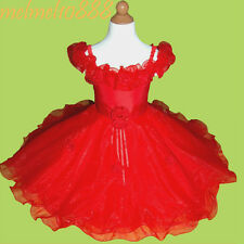 USMD08 Red Flower Girls Baby Wedding Pageant Party Dress 1,2,3,4,5,6,7,8,9 Yrs