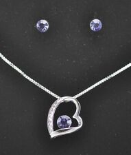 18K White Gold Plated Heart Necklace Earrings Set use Genuine Swarovski Crystals