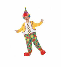 CHILDRENS COLOURFUL HOOPED CLOWN SUIT FANCY DRESS COSTUME OUTFIT