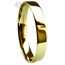 3mm 9ct Yellow Gold Flat Court Profile Wedding Rings 2.8g Heavy Bands 375 HM