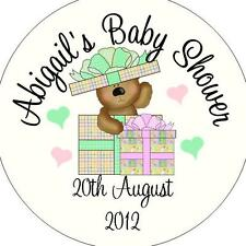 Personalised Baby Shower Circular Stickers Labels - Favours - Bear In Present