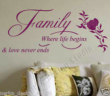 WALL QUOTE / Family Where Life Begins WALL STICKER / WALL STICKER / N82