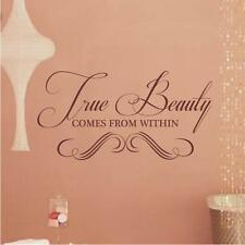 True Beauty WALL STICKER QUOTE ART Lounge Bedroom Living Room Girls Dressing
