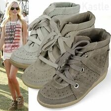 AnnaKastle New Womens Hi-Top Genuine Suede Sneaker Wedge Trainer US 5 6 7 8