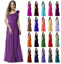 One shoulder Full-Length Chiffon Evening Prom Bridesmaid Wedding DressJS32(6-24)