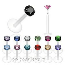 "16G & 14G~1/4"", 5/16"", 3/8"" Push-in 92.5 Silver Prong Set Bioflex Labret/Monroe"