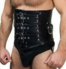 Mens REAL Leather Heavy Duty Bondage Male Corset Cincher - (MCOR1)