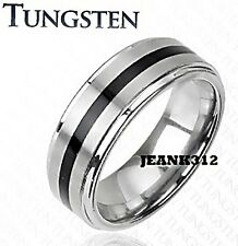 Mens Tungsten Wedding Ring Band 8mm Two Tone Classic Traditional Ring Sz 9-14