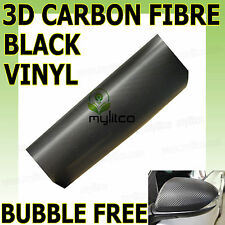 ALL SIZE - 3D TEXTURE CARBON FIBRE BLACK VINYL - BUBBLE AIR FREE - CAR VAN WRAP