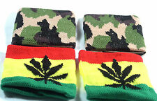 PACK OF 2 RASTA REGGAE/CAMOUFLAGE JAMAICIAN/ ARMY SWEATBANDS WRISTBANDS NEW