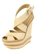 L.A.M.B. Angela Nude Sandal Heel LAMB Pump Platform Leather Wedge NEW High Biege