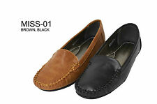NEW Women Fall Moccasin Loafer Flats Low Heel Faux Leather Casual Shoes(MISS-01)