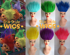 DELUXE TROLL DOLL 90S SPIKY BRIGHT COSTUME WIGS