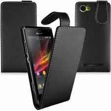 MOBILE PHONE BLACK FLIP LEATHER CASE COVER POUCH FOR SONY EXPERIA PHONE MODELS