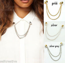 Spike Studs Shirts Double Chain Collar Neck Tip Brooch Pin Chunky Necklace Metal