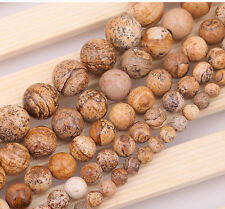 """Natural Round Picture Stone loose gemstone beads strand 15""""  6/8/10/12/14mm"""