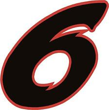 """x1 1"""" Digit  (MORE in EBAY SHOP) Race Numbers vinyl stickers Style 2 Black/Red"""