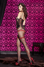 Sheer Black Faux Garter Crotchless Body Stocking Sexy Underwear Lingerie P1763
