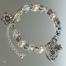 Handmade Flower Girl Friendship Bracelet Personalized With Name & Flower Charms