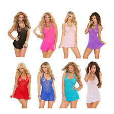 Lace Halter Mini Dress Babydoll Nighty Nightgown Chemise Bridal Lingerie 1422