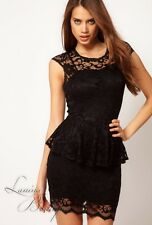 AUTHENTIC ASOS Lace Peplum Party Dress John Zack Black Sz AU 6 8 XS S Cocktail