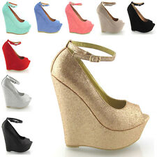 LADIES HIGH HEEL PLATFORM WOMENS PEEP TOE ANKLE STRAP WEDGE SHOES SIZE 3 - 8