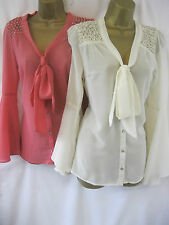 Rise Boutique Coral Cream Megan Blouse Top Jewel Shoulders Pussy Bow Bellsleeve