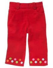 GYMBOREE COZY CUTIE RED DOT EMBROIDERED HEM CORDUROY PANTS 3 6 18 24 3T 4T NWT