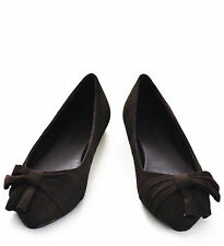 City Classified Harold-s Brown Faux Suede Ruched Bow Pointed Toe Ballet Flats