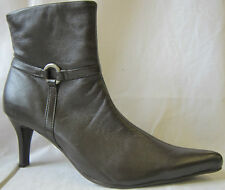 """LADIES """"COCO"""" BROWN LEATHER HIGH HEELED ANKLE BOOTS"""