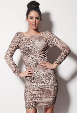 WOMENS LEOPARD STRETCHY EVENING PARTY DRESS TOP 8-10