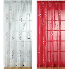 Slot Top Voile Curtain Panel Silver Design on Red, Black or White Voile C1