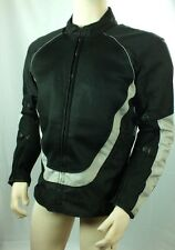Mens Motocross ATV Motorcycle Sliver/Black Removable Armor Mesh Biker Jacket M L