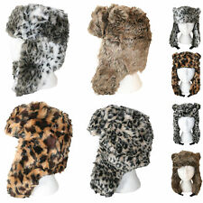 Ladies Ultra Quality Faux Fur Trapper Hat Animal Print Thick Thermal Winter Hat