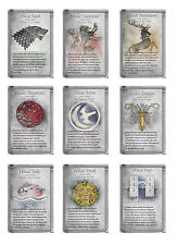 GAME OF THRONES PLASTIC FRIDGE MAGNET HOUSE SIGIL AND HISTORY 9 DESIGNS GIFT