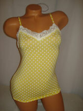 Victoria Secret Lingerie Camisole Cami Tank Top Sleepwear Yellow Polka Dots Sexy