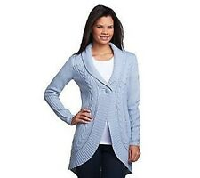 Motto Button Front Shawl Collar Cardigan with Cable Detail PICK SIZE & COLOR