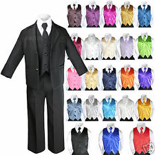 14 Color 7pcs Boys Teen Formal Party Black Tuxedos Suits Vest Necktie Sets S-20