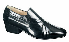 Mens Patent Cuban Heel Slip on Sole New Tab Dance Black Leather Lined Evening