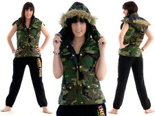 Ladies Girls Camo Army Style Hooded Padded Quilted Gilet Jacket Body Warmer Coat