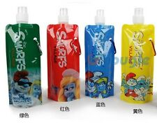 1x The Smurfs Water Bottle Folding water bag 480ml cup Blue Green Red Yellow