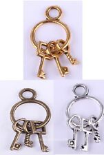 25Pcs Tibetan Retro Silver/Golden/Bronze Key Chain with 3keys Pendant