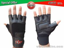 Leather Weight Lifting Gloves Long Wrist Wrap Padded Strength Training Gym S-XXL