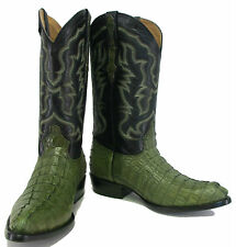 Men's Genuine Crocodile Alligator Exotic Tail Cowboy Western Boots J Toe Green