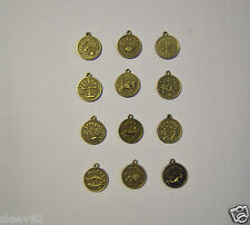 Antiqued Brass Zodiac Astrological Sign on your Choice of Necklace or Ball Chain