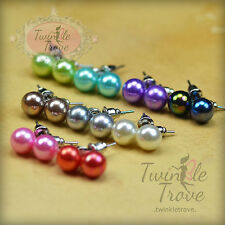 8mm Jelly Effect Shiny Faux Round Pearl Ball Stud Earrings; Many Colours;