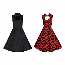 1940's 1950's PIN UP VINTAGE HEART CUT-OUT ROCKABILLY SWING DRESS NEW 8 - 18