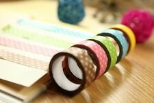 15mm Wide Decorative Paper Fabric Tape For DIY Gifts Making Sticker 15Colors