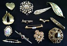 Collectable golden brooches for all occasions inc SIGNED Sphinx & Sarah Coventry